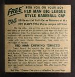 1954 Red Man #16 NL x Duke Snider  Back Thumbnail