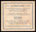 1952 Red Man American Indian Chiefs #23   Big Chief Back Thumbnail