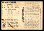 1961 Bell Brand Dodgers #16  Don Demeter     Back Thumbnail