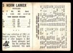 1961 Bell Brand Dodgers #5  Norm Larker    Back Thumbnail