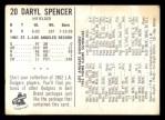 1962 Bell Brand Dodgers #20  Daryl Spencer  Back Thumbnail
