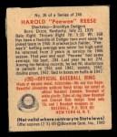 1949 Bowman #36  Pee Wee Reese  Back Thumbnail