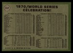 1971 Topps #332   1970 World Series - Summary - Celebration Back Thumbnail