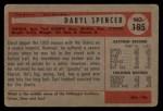 1954 Bowman #185 COR Daryl Spencer  Back Thumbnail