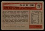 1954 Bowman #10 xINK Carl Erskine  Back Thumbnail