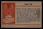1954 Bowman Power for Peace #8   Titanic Tank Back Thumbnail