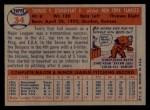 1957 Topps #34  Tom Sturdivant  Back Thumbnail