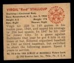 1950 Bowman #116  Red Stallcup  Back Thumbnail