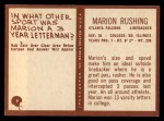 1967 Philadelphia #9  Marion Rushing   Back Thumbnail