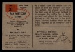 1954 Bowman #31  Ray Wietecha  Back Thumbnail