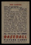 1951 Bowman #172  Ned Garver  Back Thumbnail