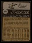 1973 Topps #250  Manny Sanguillen  Back Thumbnail