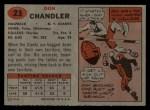 1957 Topps #23  Don Chandler  Back Thumbnail