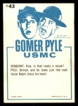 1965 Fleer Gomer Pyle #43   Ain't He Jest the Cutest Little Feller Back Thumbnail