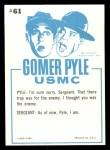 1965 Fleer Gomer Pyle #61   Do I Look Like Big Ugly Bear Back Thumbnail