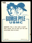 1965 Fleer Gomer Pyle #43   Ain't He Jest the Cutest Little Feller Back Thumbnail