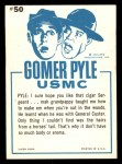 1965 Fleer Gomer Pyle #50   The Smell of that Cigar Back Thumbnail