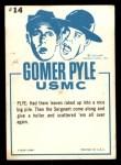 1965 Fleer Gomer Pyle #14   The Big Wind From Winnetka! Back Thumbnail