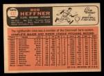 1966 Topps #432 PUR Bob Heffner  Back Thumbnail