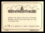1964 Topps JFK #72   JFK & Jackie Relax On Trip Back Thumbnail