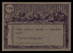 1973 Topps You'll Die Laughing #124   Agnes I warned you Back Thumbnail