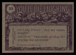 1973 Topps You'll Die Laughing #33   My girdle is killing me! Back Thumbnail