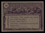 1973 Topps You'll Die Laughing #43   Ho hum must've overslept! Back Thumbnail