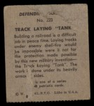 1941 W.S. Corp Defending America #223   Track Laying Tank Back Thumbnail