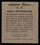 1941 W.S. Corp Defending America #246   Aerial Photographer Back Thumbnail
