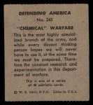 1941 W.S. Corp Defending America #245   Chemical Warfare Back Thumbnail