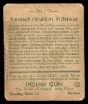 1933 Goudey Indian Gum #173   Saving Gen. Putnam  Back Thumbnail