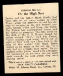 1931 Johnson Candy Dick Tracy R41 #143   On the High Seas Back Thumbnail