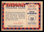 1959 Fleer Indian #45   Indian Dancer Back Thumbnail