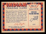 1959 Fleer Indian #15   Medicine Man Back Thumbnail