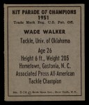 1951 Berk Ross #14 C Wade Walker  Back Thumbnail