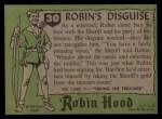 1957 Topps Robin Hood #30   Robin's Disguise Back Thumbnail