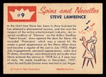 1960 Fleer Spins and Needles #9  Steve Lawrence  Back Thumbnail