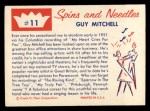 1960 Fleer Spins and Needles #11  Guy Mitchell  Back Thumbnail