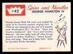 1960 Fleer Spins and Needles #42  George Hamilton IV  Back Thumbnail