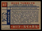 1957 Topps Hit Stars #87  Russ Tamblyn   Back Thumbnail