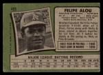 1971 Topps #495  Felipe Alou  Back Thumbnail