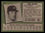 1971 Topps #306 ERR Jim Nash  Back Thumbnail