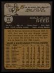 1973 Topps #72  Ron Reed  Back Thumbnail