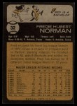 1973 Topps #32  Fred Norman  Back Thumbnail