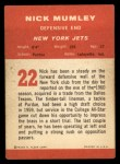 1963 Fleer #22  Nick Mumley  Back Thumbnail