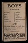 1917 Boston Store #149  Slim Sallee  Back Thumbnail