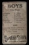 1917 Boston Store #20 NY George J. Burns  Back Thumbnail