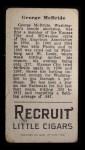 1912 T207  George McBride    Back Thumbnail