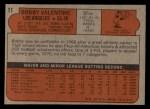1972 Topps #11  Bobby Valentine  Back Thumbnail