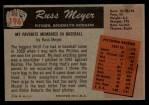 1955 Bowman #196  Russ Meyer  Back Thumbnail